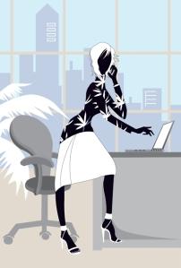 mulher bonita no escritório