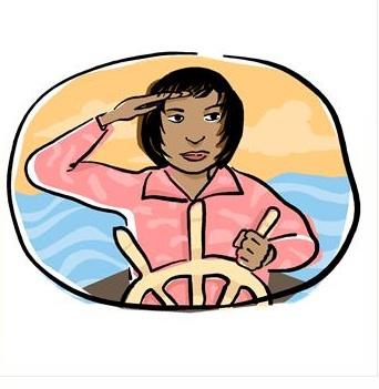 mulher no comando do barco